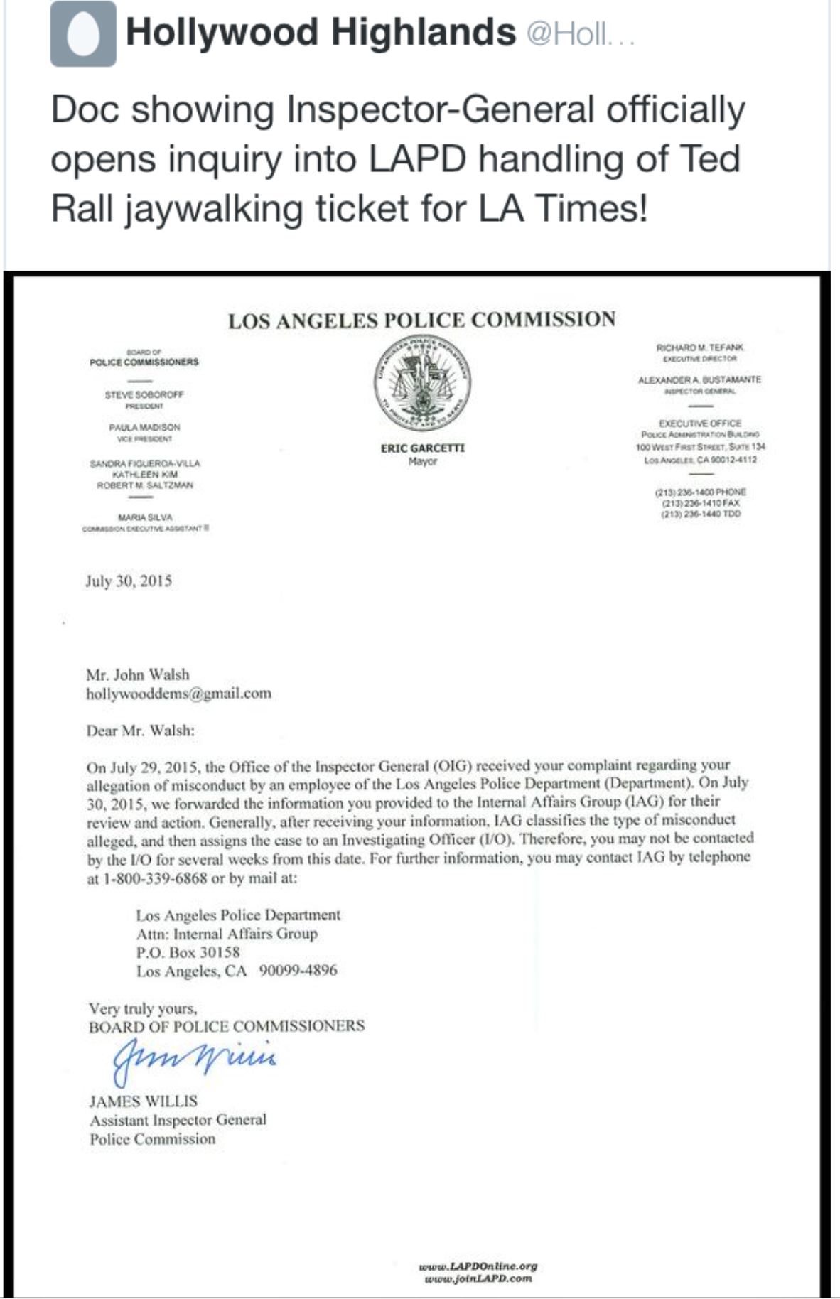 lapd oig document proves that official investigation now opened illegal cooperation la times publisher beutner attack on and subsequent firing of political cartoonist ted rall for clearly disproven circumstances